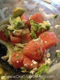 Watermelon, Avocado, and Feta Salad with Mint